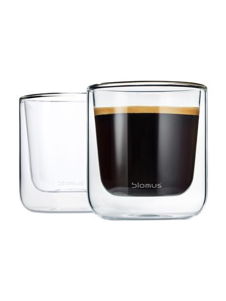 Bicchiere in vetro a doppia parete Nero 2 pz, Vetro, Trasparente, Ø 8 x Alt. 9 cm