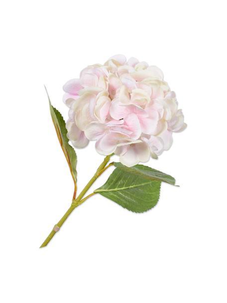 Kunstbloem Hortensia, wit/roze, Kunststof, metaaldraad, Wit, roze, L 65 cm