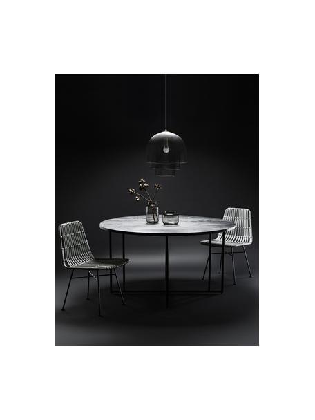 Okrągły stół do jadalni z blatem z litego drewna Luca, Blat: lite drewno mangowe, szcz, Stelaż: metal malowany proszkowo, Drewno mangowe lakierowane na czarno, Ø 140 x W 75 cm