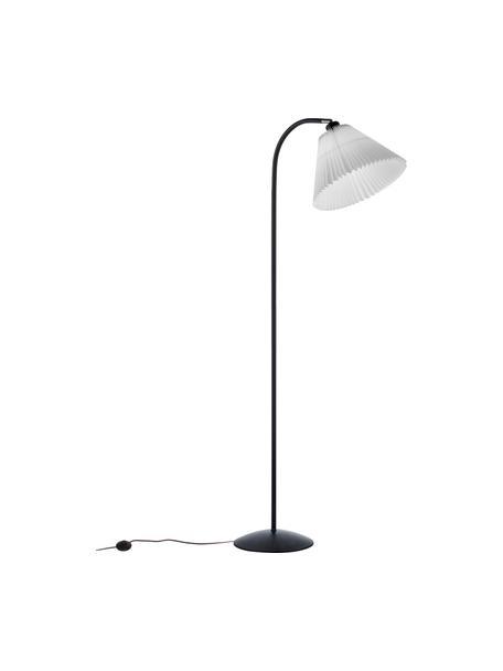 Lampa podłogowa z plisowanym kloszem Medina, Biały, czarny, Ø 32 x W 132 cm
