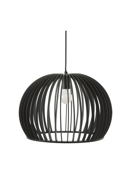 Lampada moderna a sospensione in legno Avril, Paralume: legno verniciato, Baldacchino: metallo verniciato a polv, Nero, Ø 45 x Alt. 31 cm