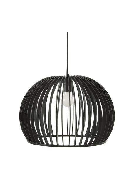 Moderne hanglamp Avril van hout, Lampenkap: gelakt hout, Baldakijn: gepoedercoat metaal, Zwart, Ø 45 x H 31 cm