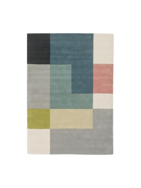 Alfombra artesanal de lana de diseño Tetris, 100%lana Las alfombras de lana se pueden aflojar durante las primeras semanas de uso, la pelusa se reduce con el uso diario, Multicolor, An 140 x L 200 cm (Tamaño S)