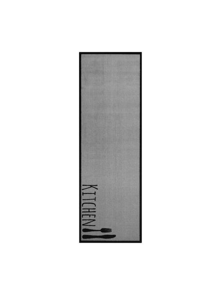 Alfombra de cocina lavable Kitchen Cutlery, antideslizante, Parte superior: 100%poliamida, Reverso: caucho, Gris, negro, An 50 x L 150
