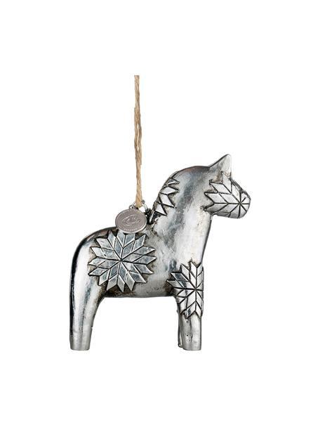 Handgefertigte Baumanhänger Serafina Horse H 9 cm, 2 Stück, Silberfarben, 8 x 9 cm