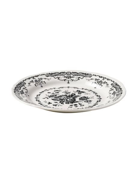 Dinerbord en Rose met bloemmotief in wit/zwart 2 stuks, Keramiek, Wit, zwart, Ø 26 x H 2 cm