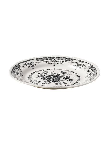 Piatto piano con motivo floreale Rose 2 pz, Ceramica, Bianco, nero, Ø 26 x Alt. 2 cm