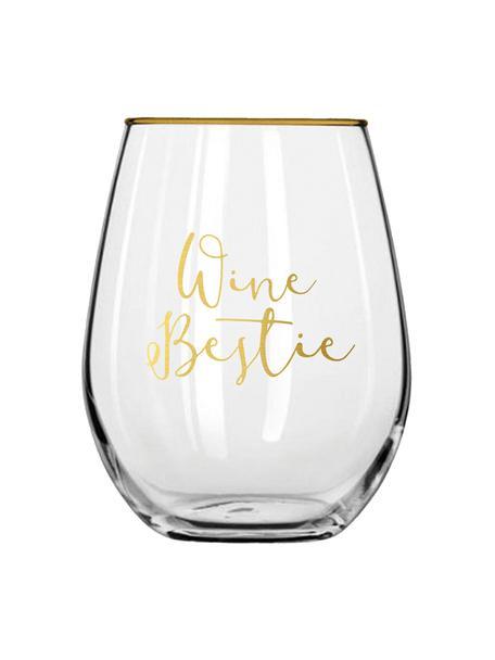 Bicchiere con scritta dorata Wine Bestie 2 pz, Vetro, Trasparente, dorato, Ø 10 x Alt. 13 cm