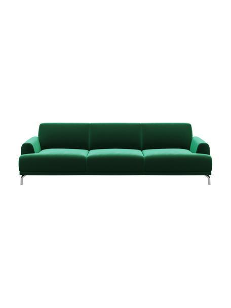 Sofá de terciopelo Puzo (3plazas), Tapizado: 100%terciopelo de poliés, Patas: metal pintado, Verde oscuro, An 240 x F 84 cm
