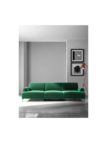 Sofa z aksamitu Puzo (3-osobowa), Tapicerka: 100% aksamit poliestrowy,, Nogi: metal lakierowany, Ciemnozielony, S 240 x G 84 cm