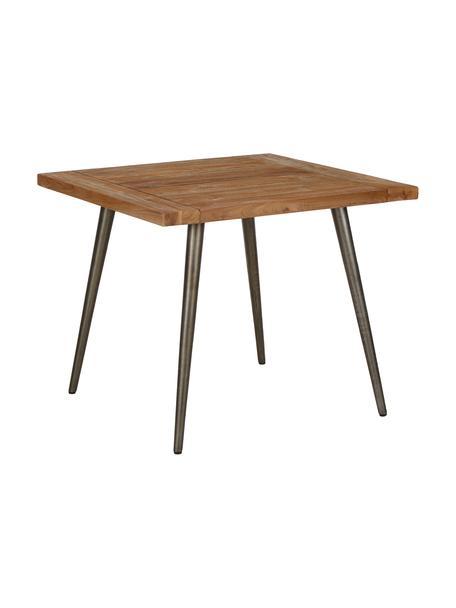 Tavolo con piano in legno massello Kapal, Piano d'appoggio: teak massiccio riciclato , Gambe: acciaio con tracce metall, Legno di teak, Larg. 90 x Prof. 90 cm
