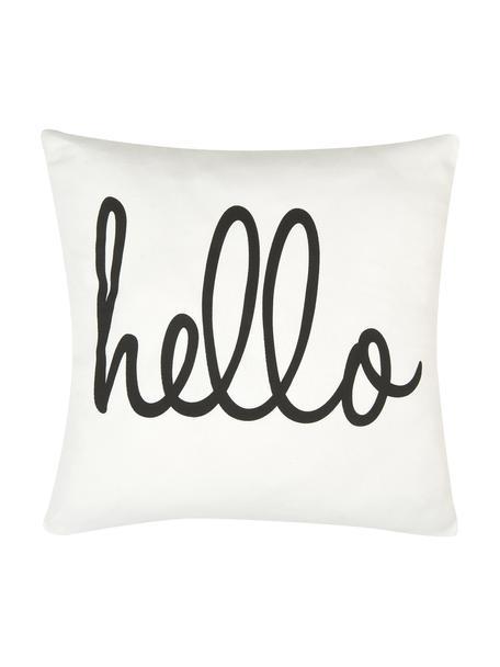 Kussenhoes Hello met opschrift in zwart/wit, 100% katoen, panamabinding, Zwart, crèmewit, 40 x 40 cm