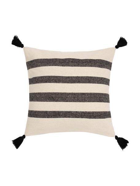 Federa arredo a righe con nappine  Zebra, 100% cotone, Nero, bianco, Larg. 45 x Lung. 45 cm