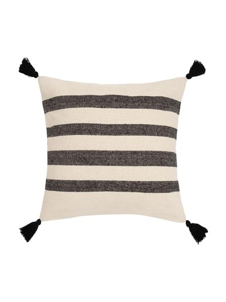 Gestreifte Kissenhülle Zebra mit Quasten, 100% Baumwolle, Schwarz, Weiß, 45 x 45 cm