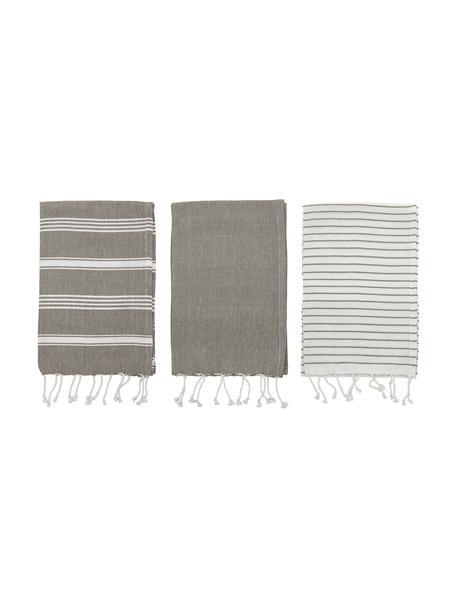Komplet ręczników kuchennych z bawełny Nature, 3 elem., Bawełna, Szary, biały, S 45 x D 70 cm