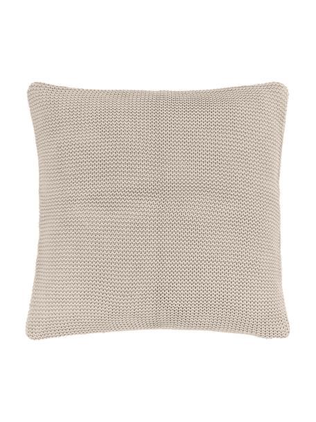 Federa arredo a maglia in cotone biologico beige Adalyn, 100% cotone biologico, certificato GOTS, Beige, Larg. 40 x Lung. 40 cm