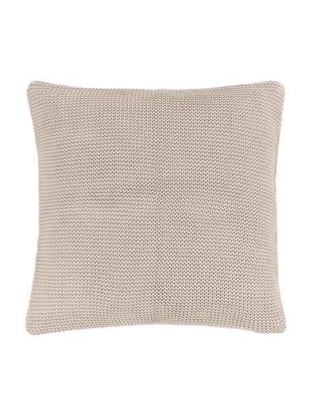 Strick-Kissenhülle Adalyn aus Bio-Baumwolle in Beige, 100% Bio-Baumwolle, GOTS-zertifiziert, Beige, 40 x 40 cm