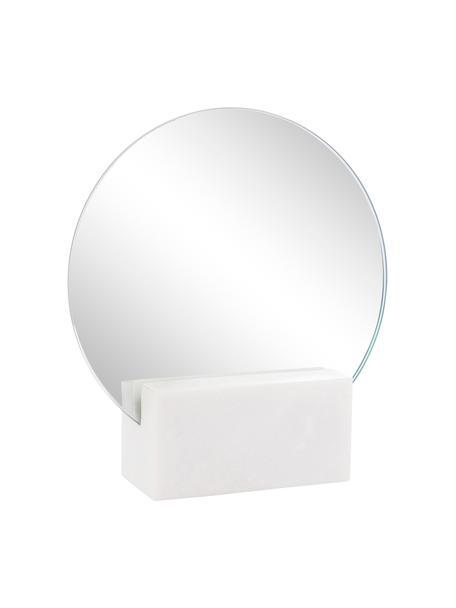 Kosmetikspiegel Humana, Spiegelfläche: Spiegelglas, Fuß: Marmor, Weiß, 17 x 19 cm