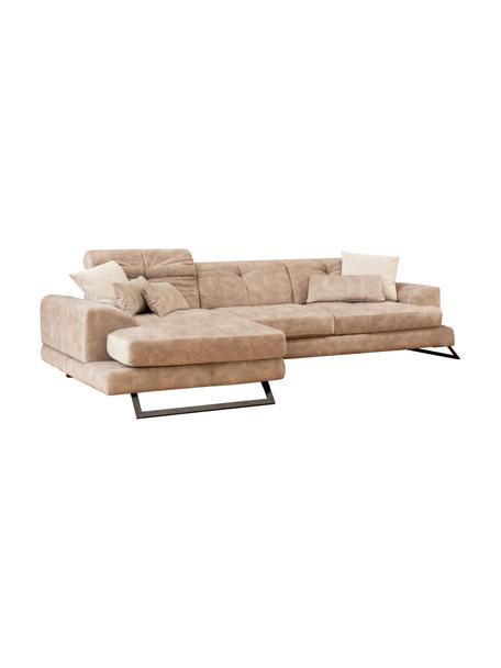 Sofa narożna z regulowanym oparciem  Frido (4-osobowa), Tapicerka: 100% poliester, Stelaż: drewno brzozowe, płyta wi, Nogi: metal powlekany, Ciemny beżowy, S 308 x G 190 cm