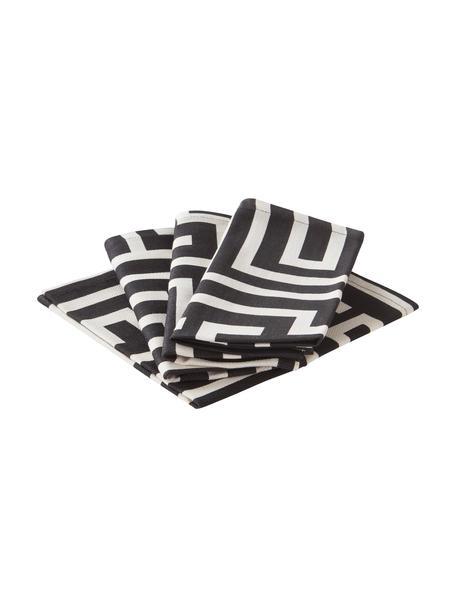 Servietten Indy mit grafischem Muster in Schwarz/Cremeweiß, 4 Stück, 92% BCI-Baumwolle, 8% Leinen, Schwarz, Cremeweiß, 42 x 42 cm