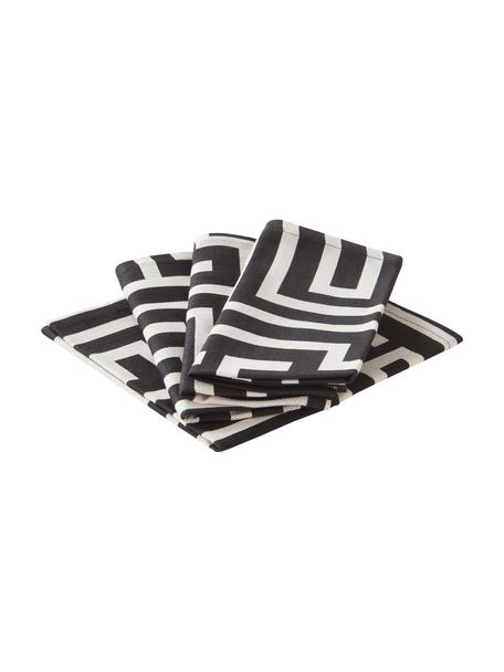 Serwetka Indy, 4 szt., 92% bawełna BCI, 8% len, Czarny, kremowobiały, S 42 x D 42 cm
