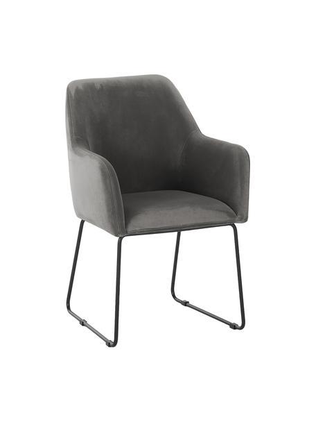 Fluwelen armstoel Isla in grijs, Bekleding: polyester, Poten: gepoedercoat metaal, Fluweel steengrijs, poten zwart, B 58 x D 62 cm