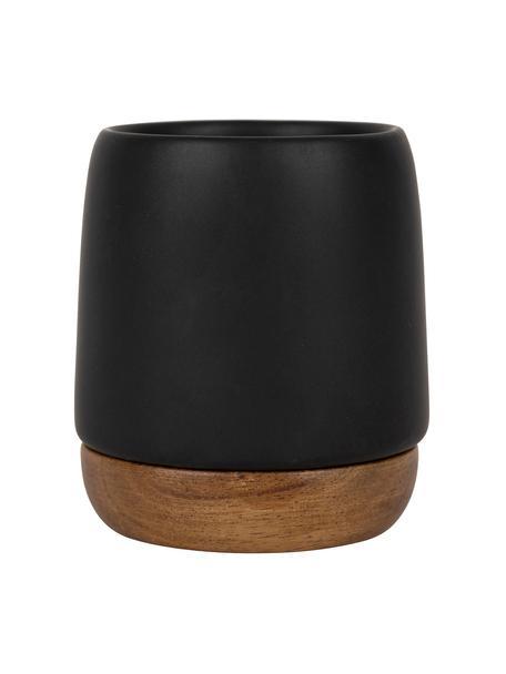 Kubek XS z kamionki i drewna akacjowego Nordika, 2 szt., Czarny, brązowy, Ø 6 x W 8 cm