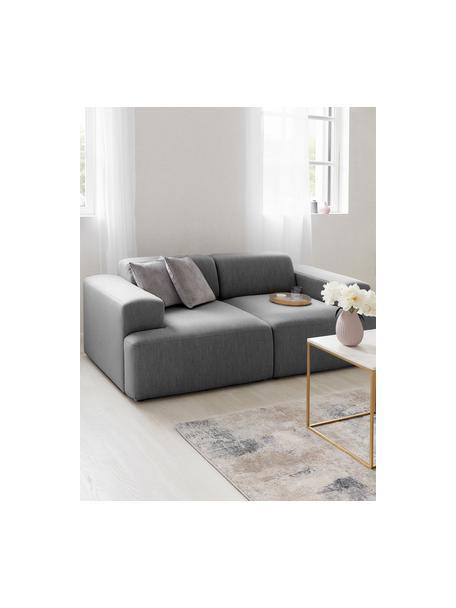 Bank Melva (2-zits) in grijs, Bekleding: 100% polyester, Frame: massief grenenhout, FSC-g, Poten: kunststof, Geweven stof grijs, 198 x 101 cm