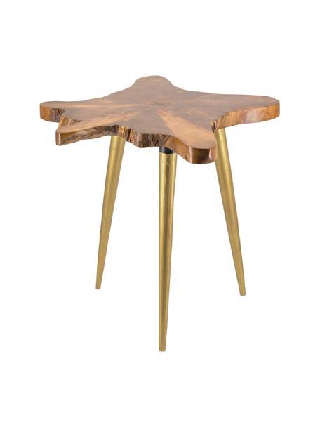 Ręcznie wykonany stolik kawowy z drewna tekowego Raiz, Drewno tekowe, Brązowy, odcienie złotego, S 60 x G 60 cm
