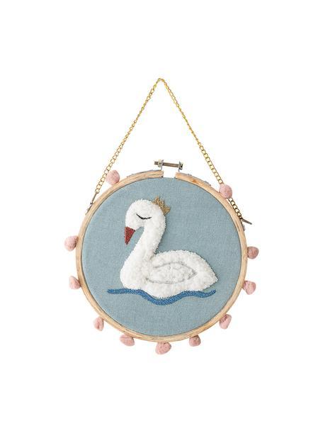 Decoración de pared Swan, Baumwolle, Blau, O 20 cm x T 1 cm