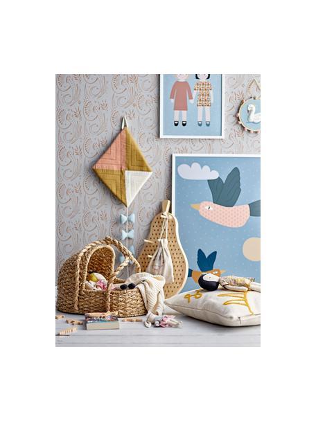 Decorazione da parete Swan, Cotone, legno di pino, Blu, multicolore, Ø 20 x Prof. 1 cm