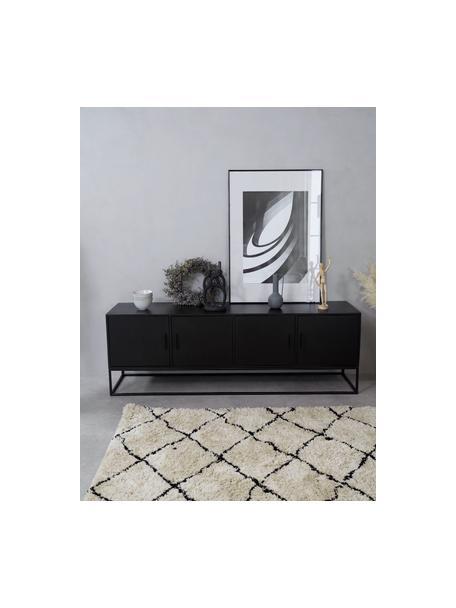 Tv-meubel Lyle van massief mangohout met deuren, Zwart gelakt mangohout, 180 x 60 cm