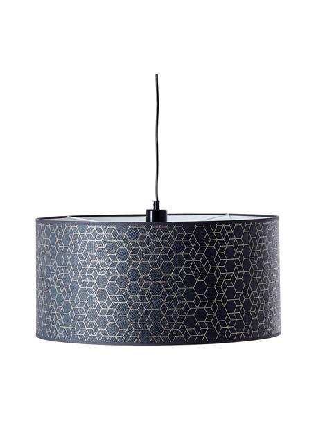 Hanglamp Galance in zwart, Lampenkap: stof, Baldakijn: kunststof, Zwart, Ø 50 x H 25 cm