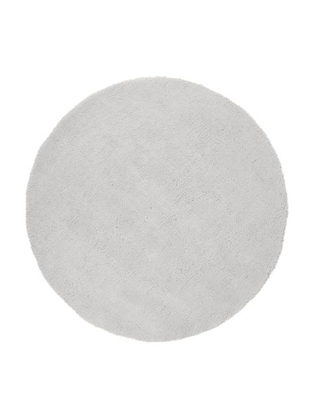 Pluizig rond hoogpolig vloerkleed Leighton in lichtgrijs, Bovenzijde: 100% polyester (microveze, Onderzijde: 100% polyester, Lichtgrijs, Ø 120 cm (maat S)