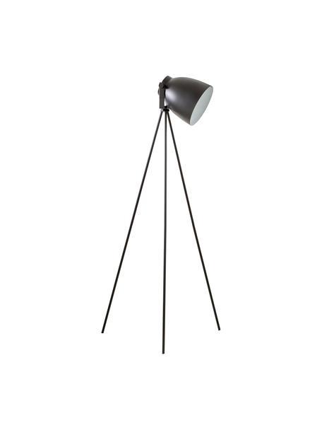 Driepoot leeslamp Studio in industrieel design, Lampenkap: staal, Lampvoet: staal, Mat zwart, 58 x 130 cm