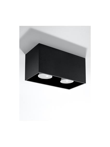 Kleine plafondspot Geo in zwart, Lamp: aluminium, Zwart, 20 x 10 cm