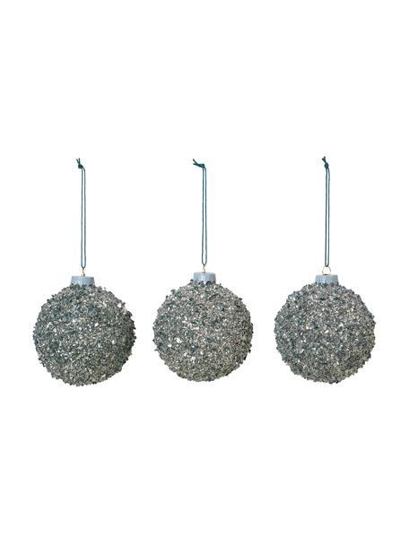 Weihnachtsbaumkugeln Glitter Ø 8 cm, 3 Stück, Silberfarben, Ø 8 cm