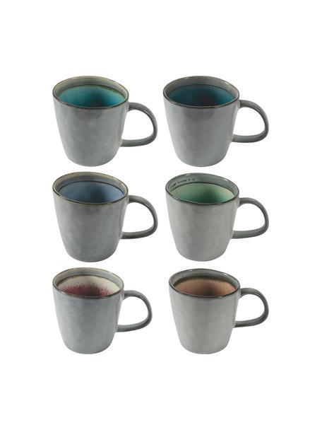 Koffiekopjes Bahamas met gekleurde binnenzijde, set van 6, Keramiek, Grijs, multicolour, Ø 10 x H 10 cm