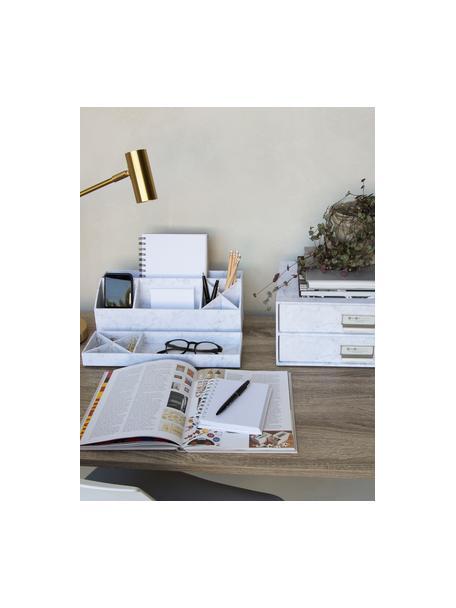 Bureau organizer Elisa, Massief, gelamineerd karton, Gemarmerd wit, 33 x 13 cm