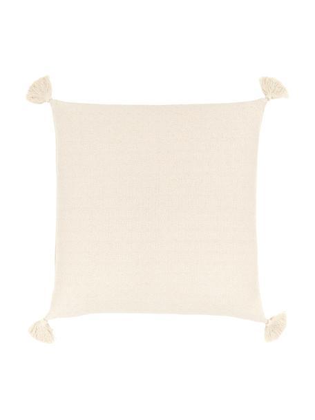 Kissenhülle Lori in Beige mit dekorativen Quasten, 100% Baumwolle, Beige, 60 x 60 cm
