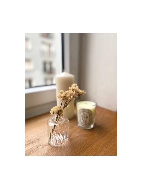 Kleine glazen vaas Plinn, Glas, Transparant, goudkleurig, Ø 7 x H 10 cm