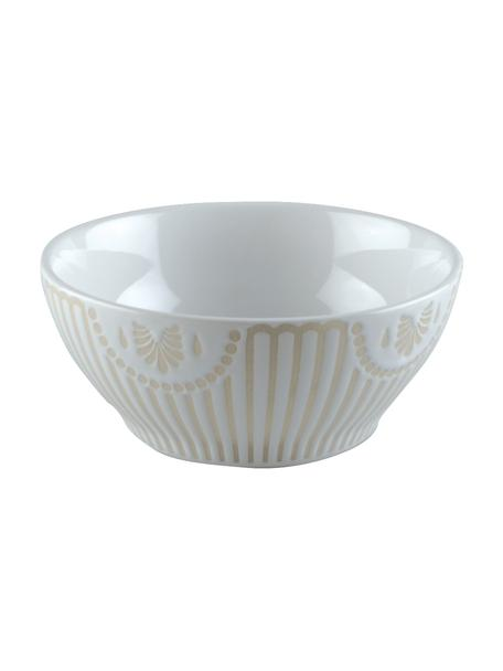 Ciotola in porcellana con motivo interno a rilievo Sonia 2 pz, Porcellana, Bianco, Ø 12 x Alt. 5 cm