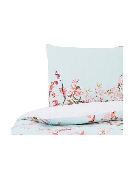 Dubbelzijdig dekbedovertrek Chinoiserie, Katoen, Bovenzijde: licht mintgroen, roze, groen. Onderzijde: wit, 140 x 200 cm + 2 kussen 60 x 70 cm