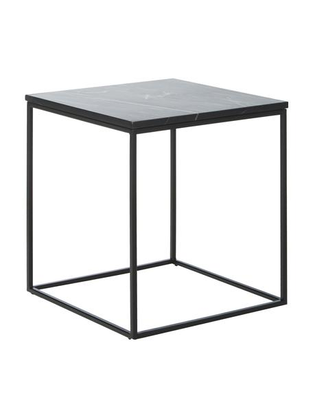 Marmor-Beistelltisch Alys, Tischplatte: Marmor, Gestell: Metall, pulverbeschichtet, Tischplatte: Schwarzer Marmor Gestell: Schwarz, matt, 45 x 50 cm