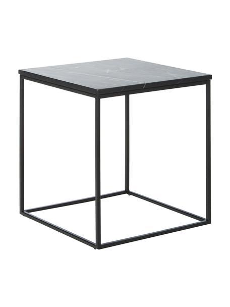 Stolik pomocniczy z marmuru Alys, Blat: marmur, Stelaż: metal malowany proszkowo, Blat: czarny marmur Stelaż: czarny, matowy, S 45 x W 50 cm