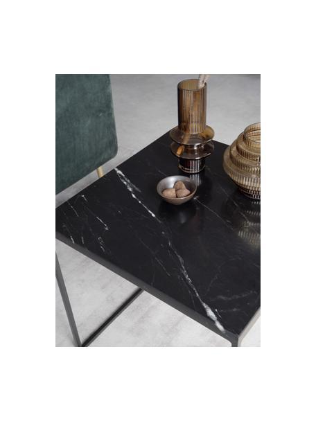Marmor-Beistelltisch Alys, Tischplatte: Marmor, Gestell: Metall, pulverbeschichtet, Schwarzer Marmor, Schwarz, 45 x 50 cm
