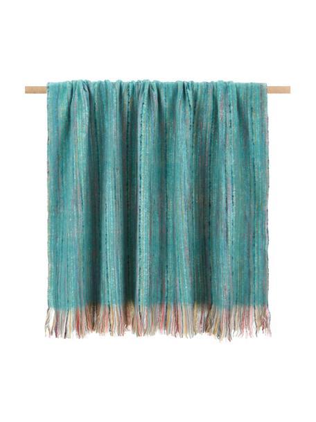 Kleurrijke plaid Ayana met franjes, 100% acryl, Turquoise, multicolour, 130 x 190 cm