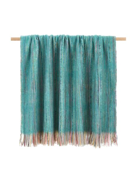 Manta con flecos Ayana, 100%acrílico, Turquesa, multicolor, An 130 x L 190 cm