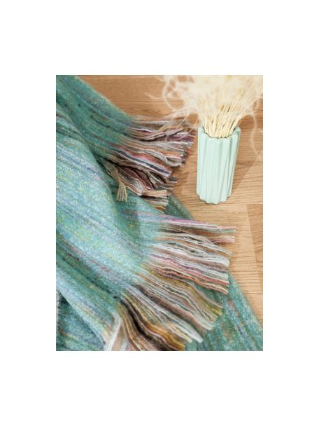 Pled z frędzlami Ayana, 100% akryl, Turkusowy, wielobarwny, S 130 x D 190 cm