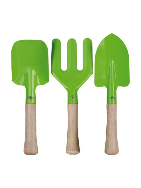 Kinder tuingereedschapset Little Gardener, 3-delig, Hout, gepoedercoat metaal, Groen, 20 x 28 cm
